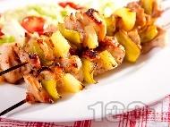 Пикантни пилешки шишчета от бут с ананас печени на грил